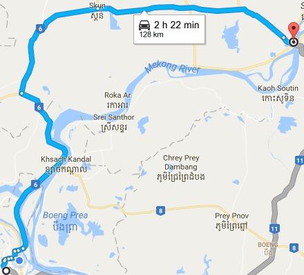 phnom-penh-12000-to-krong-kampong-cham-google-maps